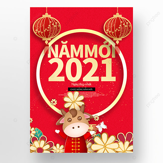red vietnamese new year poster template