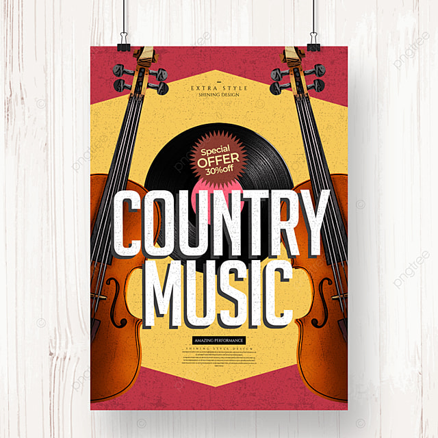 retro color country music party poster