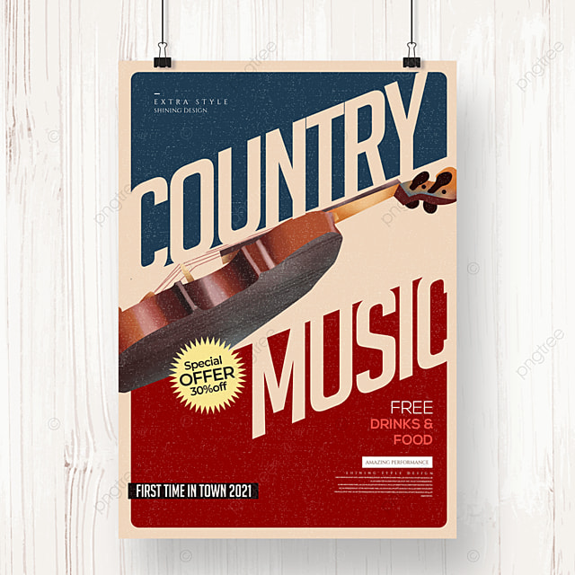 retro fashion creative country music party poster