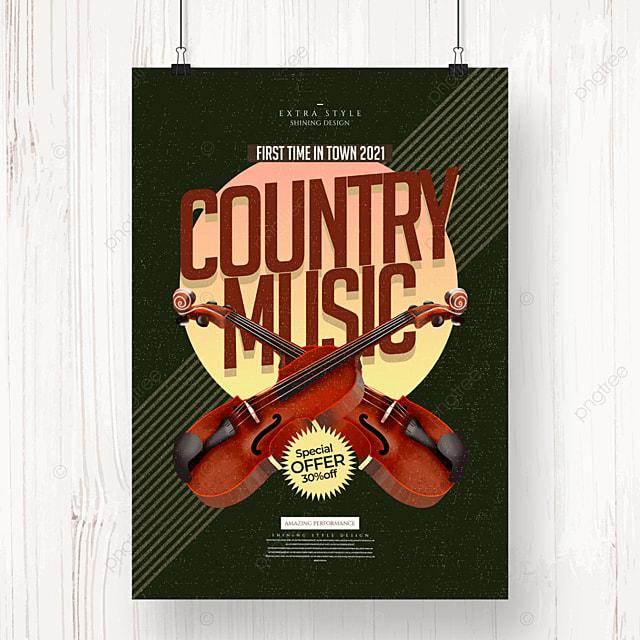 retro minimalist cartoon country music poster