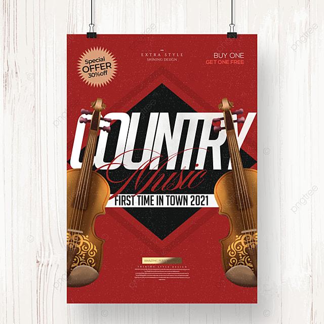 retro minimalist country music poster