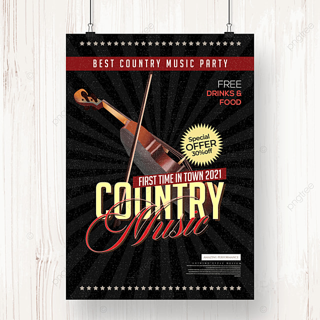 retro personality country music party poster