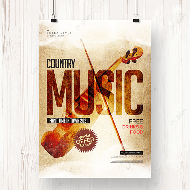 retro smudge country music party poster