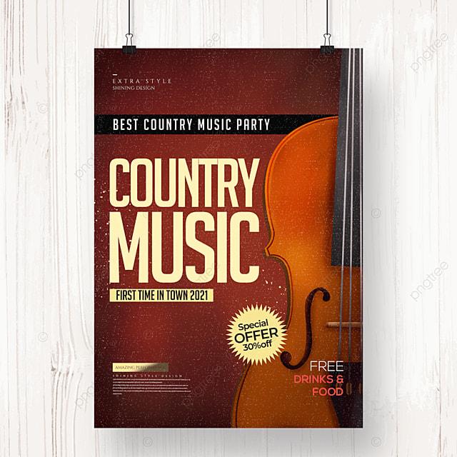 simple cartoon retro country music poster