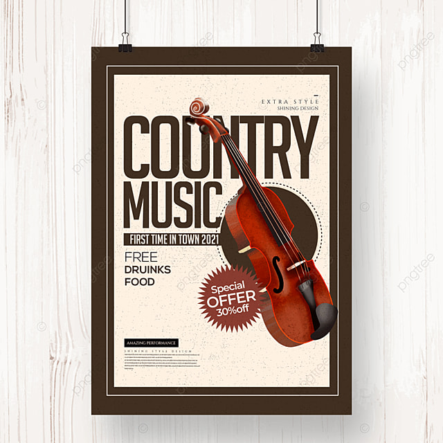 simple retro cartoon country music party poster