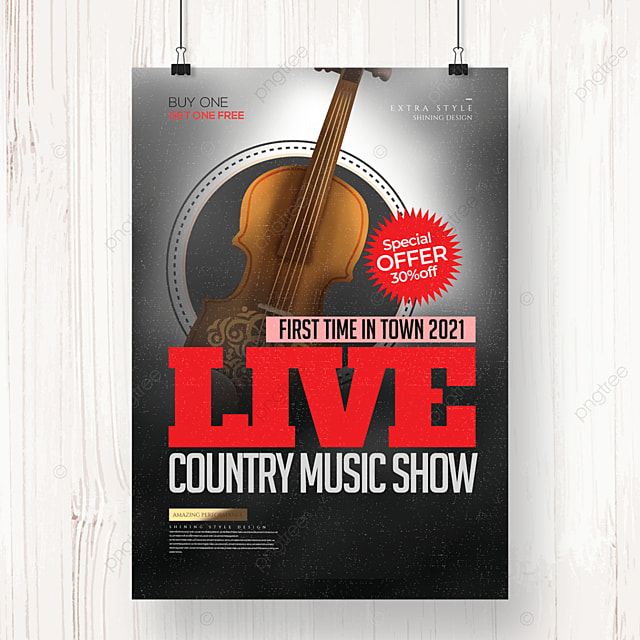 simple retro country music party poster