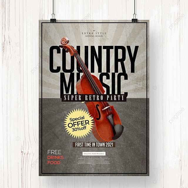 stylish retro country music cartoon poster