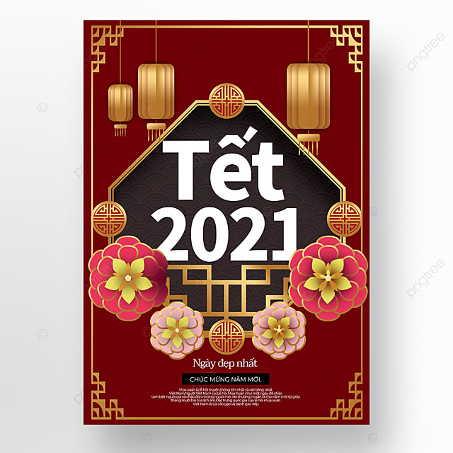traditional vietnamese new year poster template