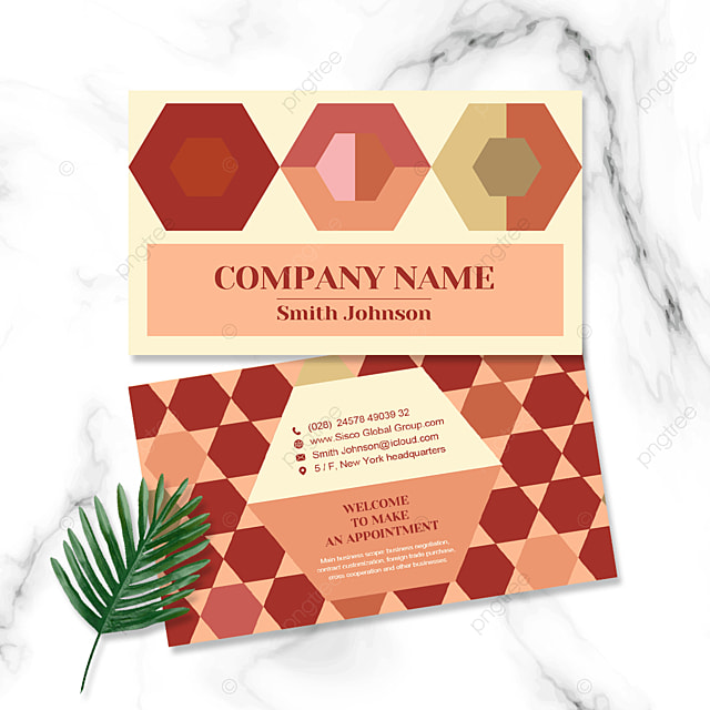 warm color geometric personal business double sided business card