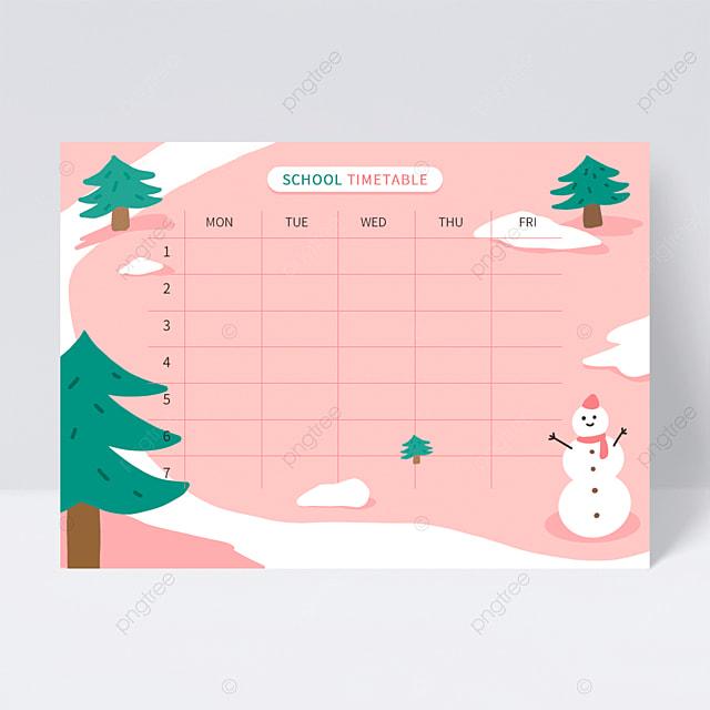 warm winter cute study schedule