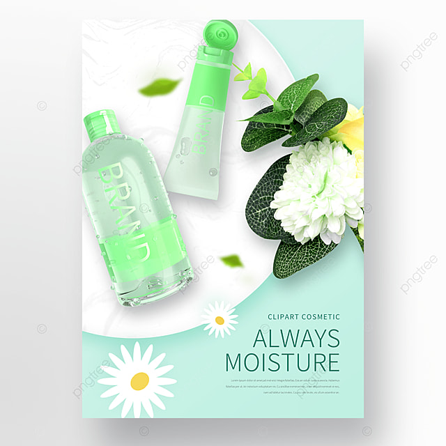 blue bouquet skin care cosmetics poster