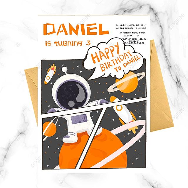 cartoon astronaut birthday invitation