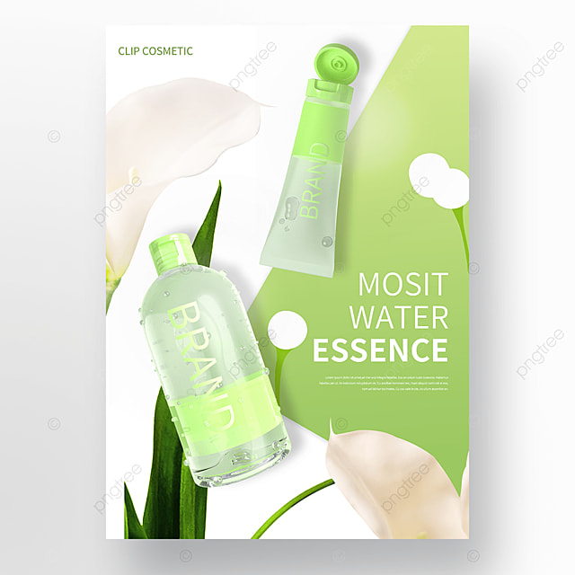 green plant flower cosmetics skin care product promotion poster
