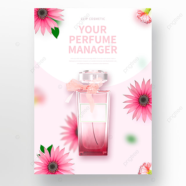 pink flowers perfume cosmetics poster