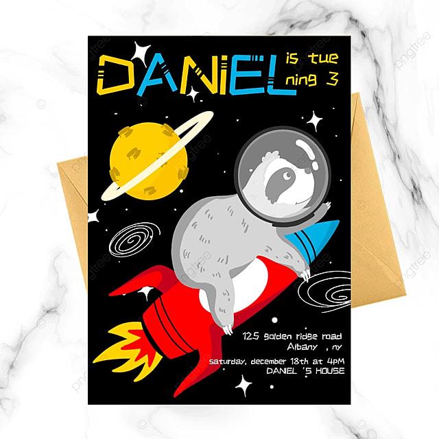 sloth universe cartoon invitation