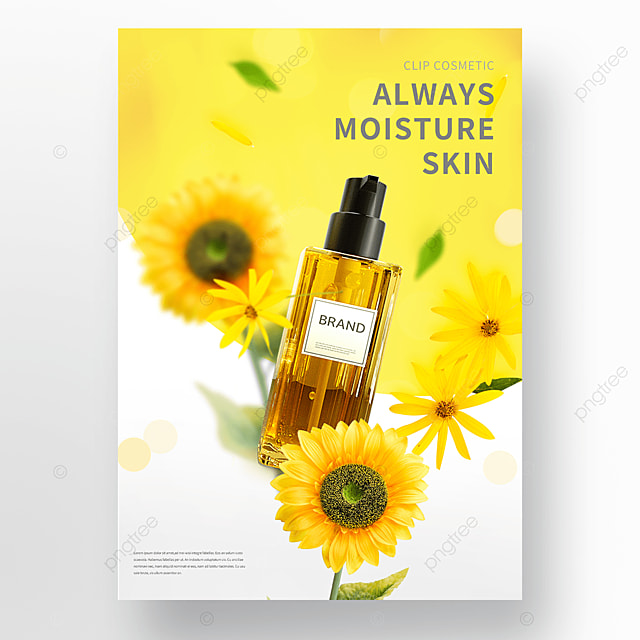 yellow flowers cosmetic essential oil poster