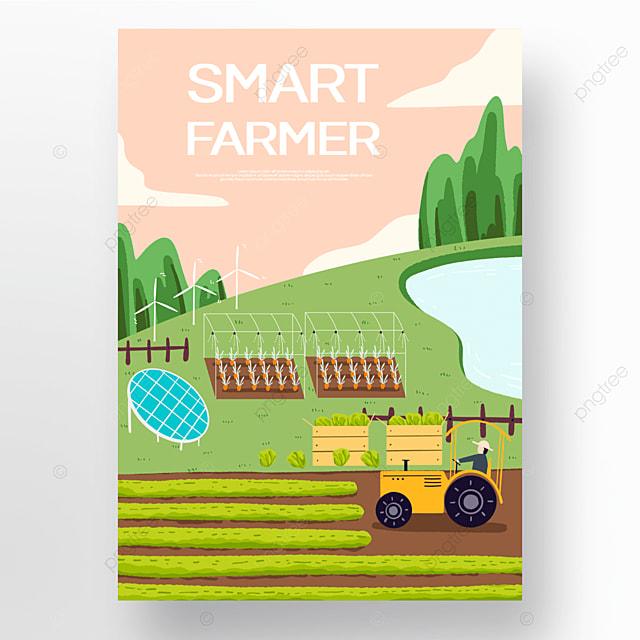colorful cartoon smart farm poster