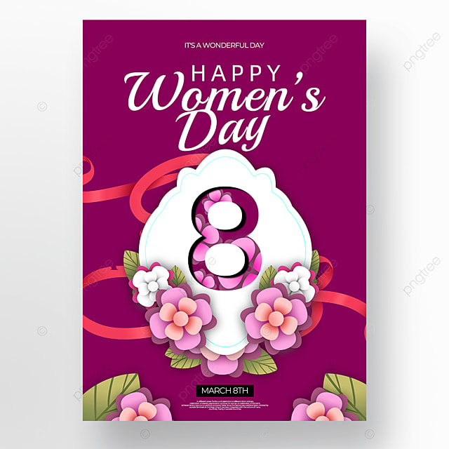 floral womens day poster on dark background
