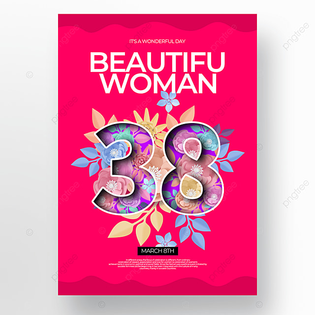 pink creative floral womens day poster