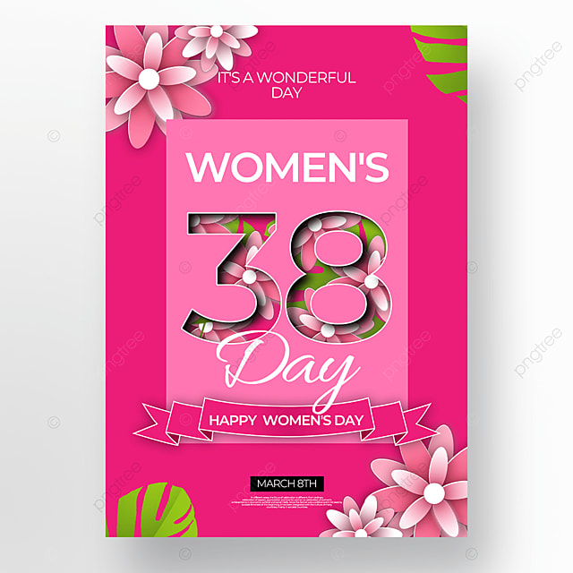 pink floral womens day poster