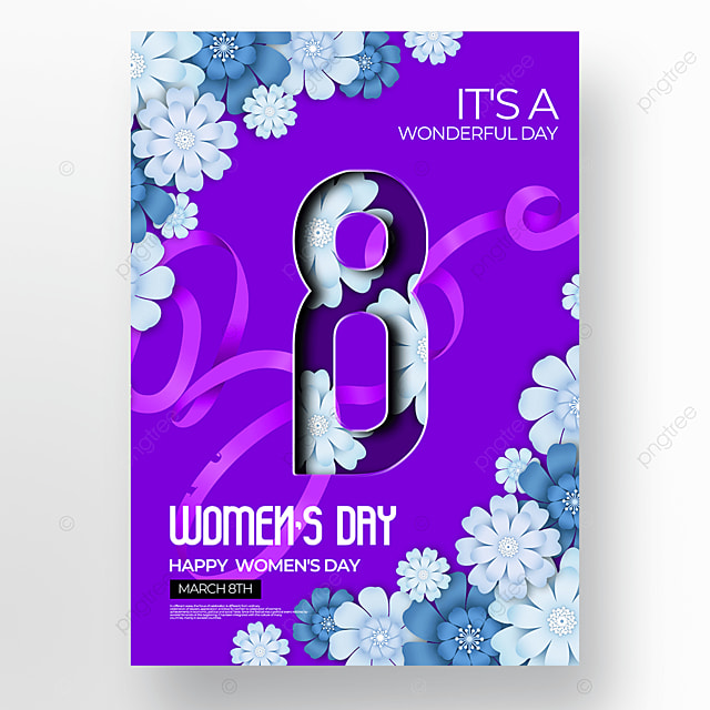 purple background creative floral womens day poster