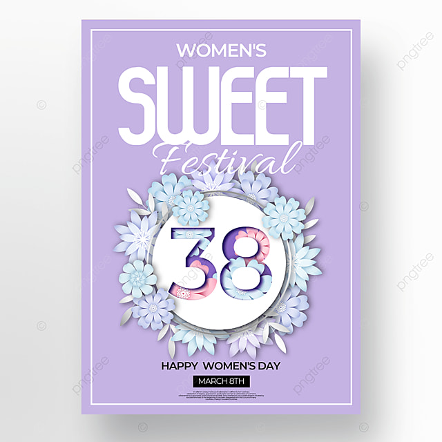purple background floral womens day poster
