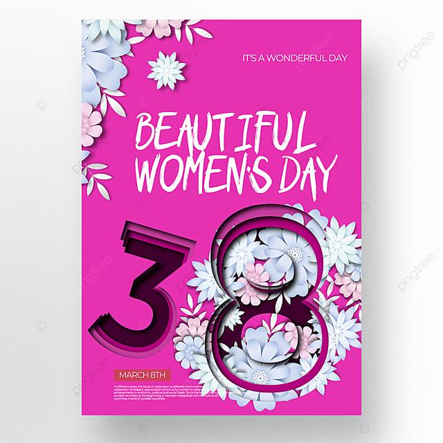 purple creative fashion flower womens day poster