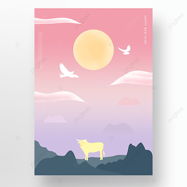 red gradient ox year new year holiday poster