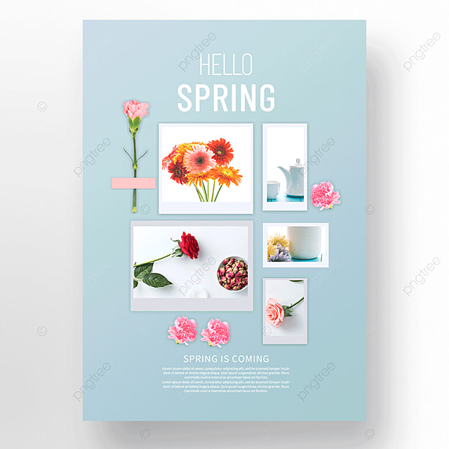 blue creative flowers spring poster