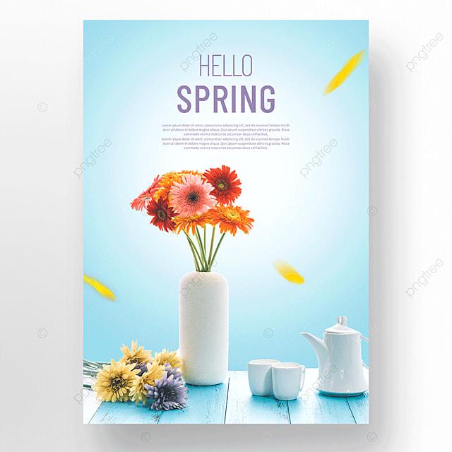 blue spring flowers vase poster