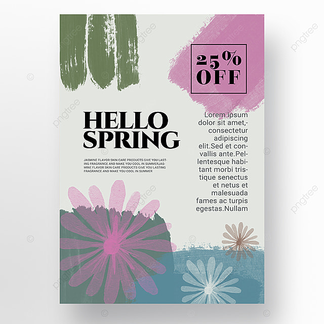 blue spring promotion simple shape color block mosaic promotion template