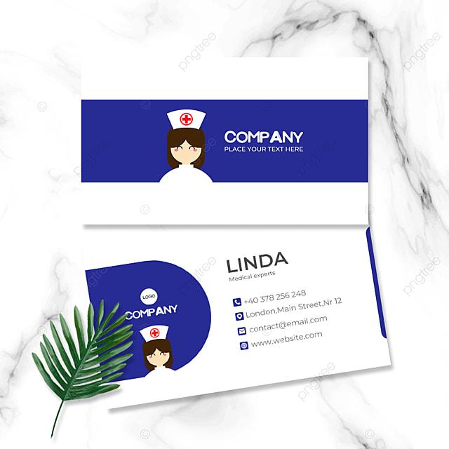 cartoon nurse avatar medical industry double sided business card