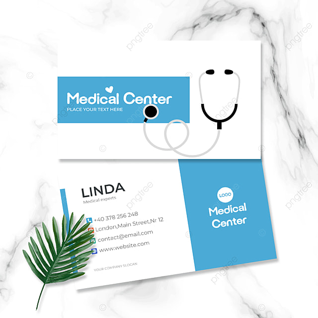 cartoon stethoscope medical industry double sided business card