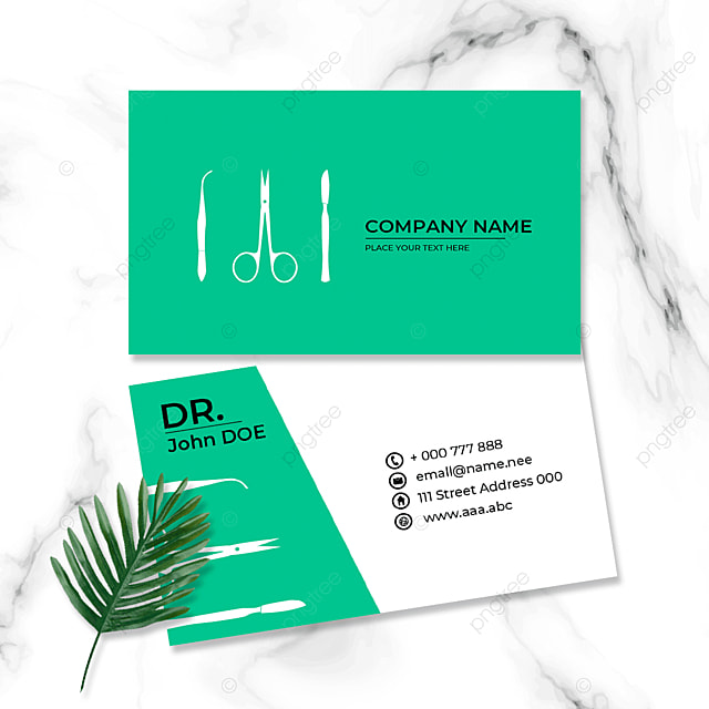 green medical industry doctor business card