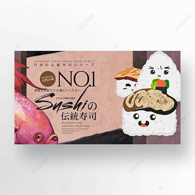 japanese traditional retro sushi cuisine banner