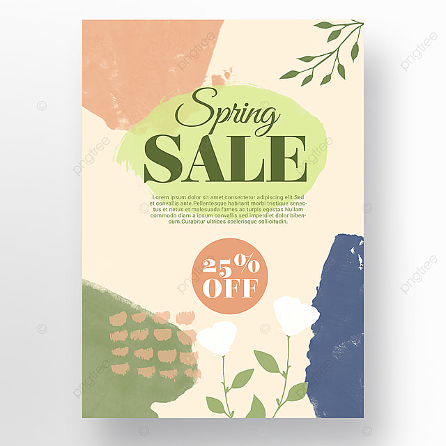 orange simple color block splicing spring promotion promotion template