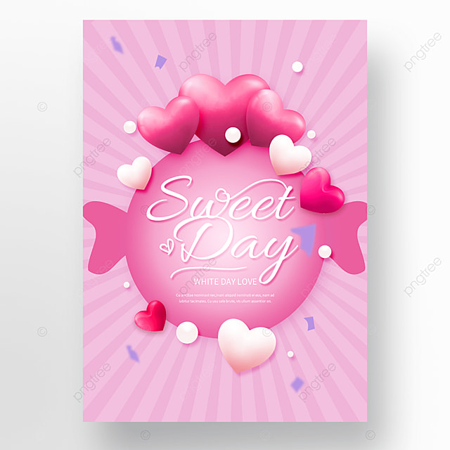 pink heart shaped candy white valentines day poster
