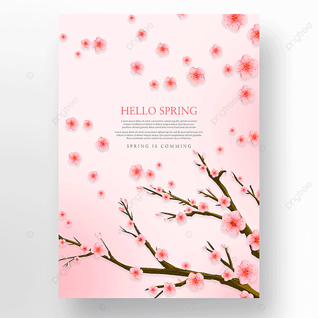 pink peach blossom hello spring poster
