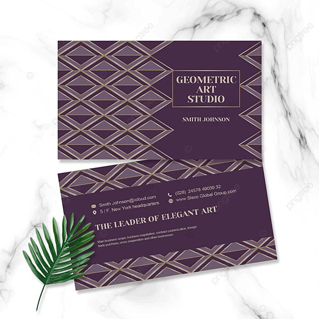 purple geometric elegant business card
