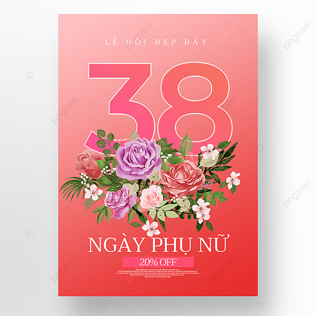 red flowers womens day sale poster template