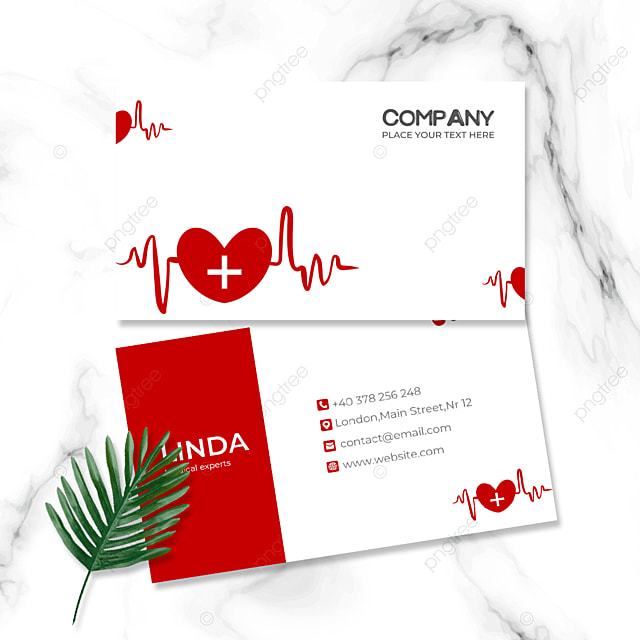 red medical industry double sided business card