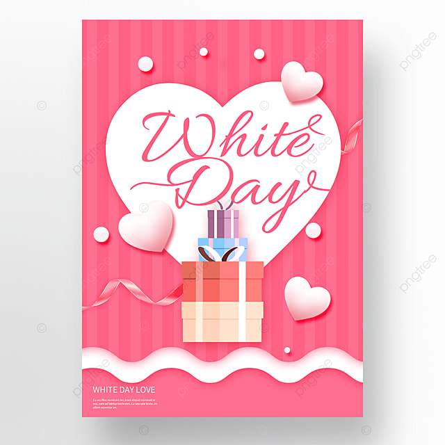 romantic pink heart shaped love white valentines day poster