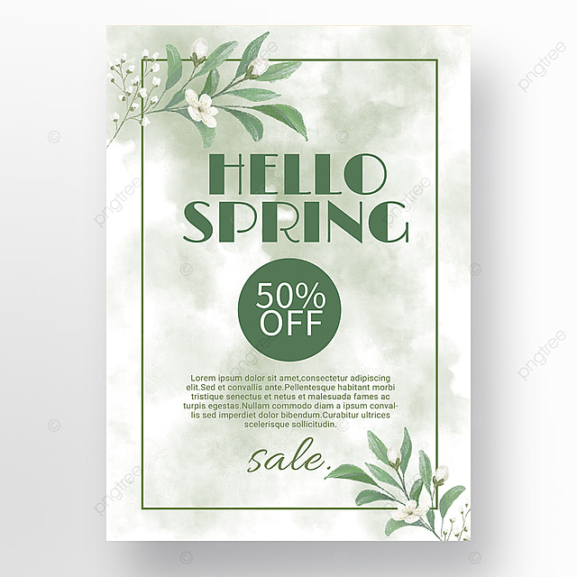 simple green border blooming spring promotion promotion template
