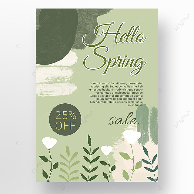 simple green color block splicing spring promotion promotion template