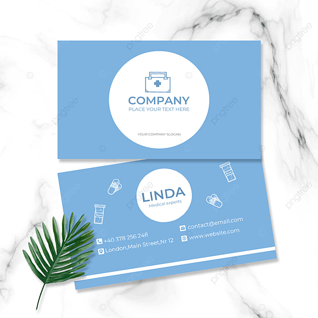 sky blue background medical industry double sided business card