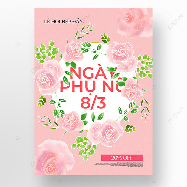 wreath womens day sale poster template