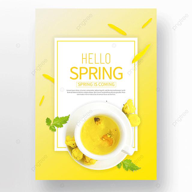 yellow spring petal flower tea poster