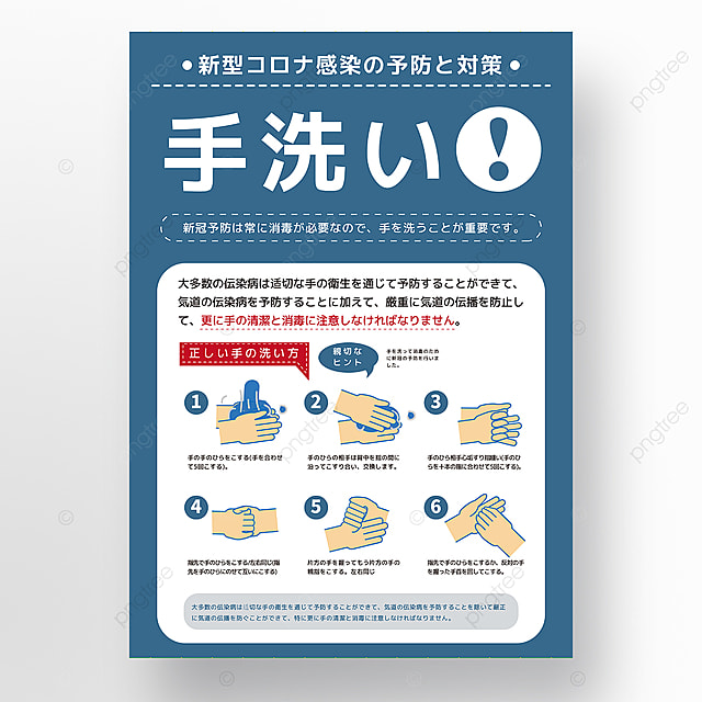 blue new crown protective hand washing steps creative poster