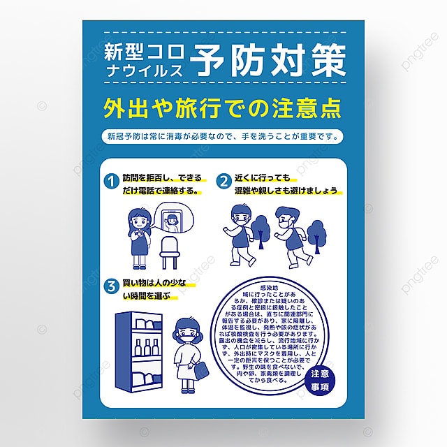 blue simple new crown cartoon character prevention guide