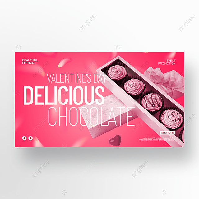 chocolate pink valentine food promotion template